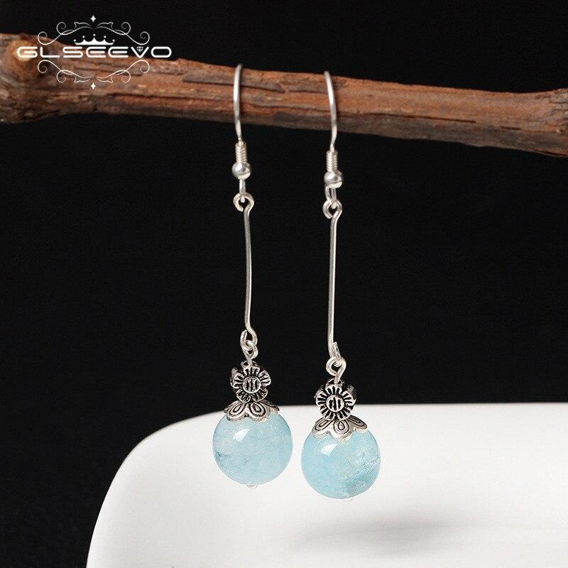 все цены на GLSEEVO 925 Sterling Silver Transparent Natural Aquamarine Blue Stone Long Dangle Flower Earrings Women Vintage Earrings GE0339B онлайн