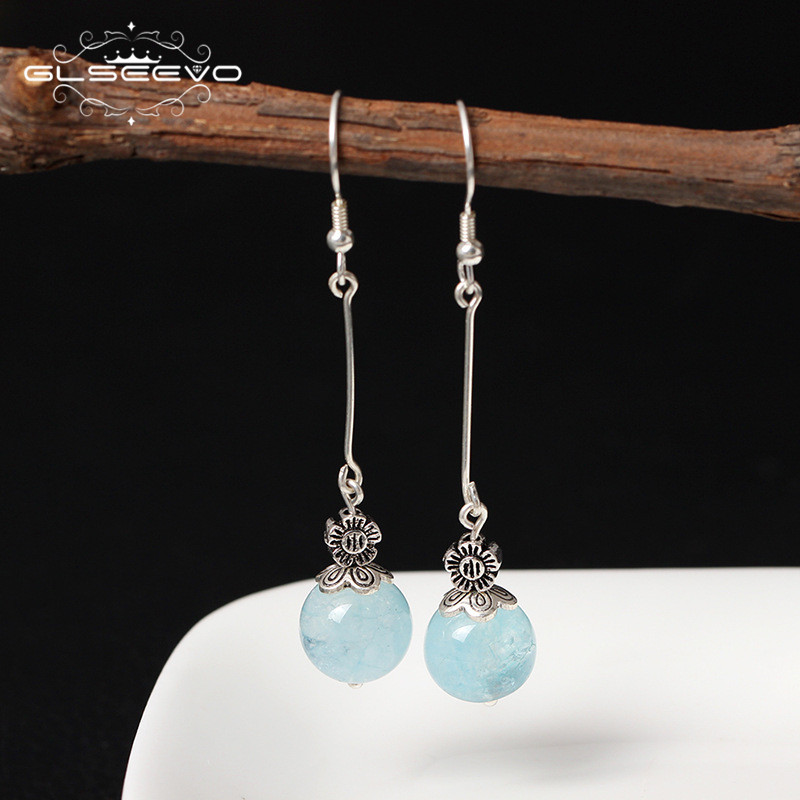 GLSEEVO 925 Sterling Silver Transparent Natural Aquamarine Blue Stone Long Dangle Flower Earrings Women Vintage Earrings GE0339B