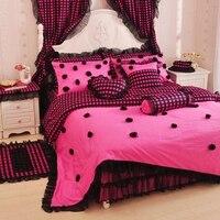 Coreano principessa rosa pizzo nero rosa biancheria da letto matrimoniale/full/queen cotone gonna letto biancheria da letto di nozze spedizione gratuita