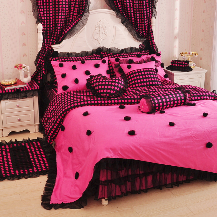 Korean Princess Pink Black Lace rose bedding twin full queen cotton     Korean Princess Pink Black Lace rose bedding twin full queen cotton bed  skirt wedding bed linen free shipping in Bedding Sets from Home   Garden on
