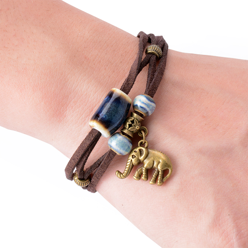 Stbead Together By Leather Cord / Pendants of Elephant Ceramic Bracelets of National Wind Ethnic Jewelry