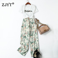 2019 Summer New Women Casual Two Piece Outfits Fashion Designer Short Sleeve Sequined T Shirt and Print Pants Suit Set Twin Sets