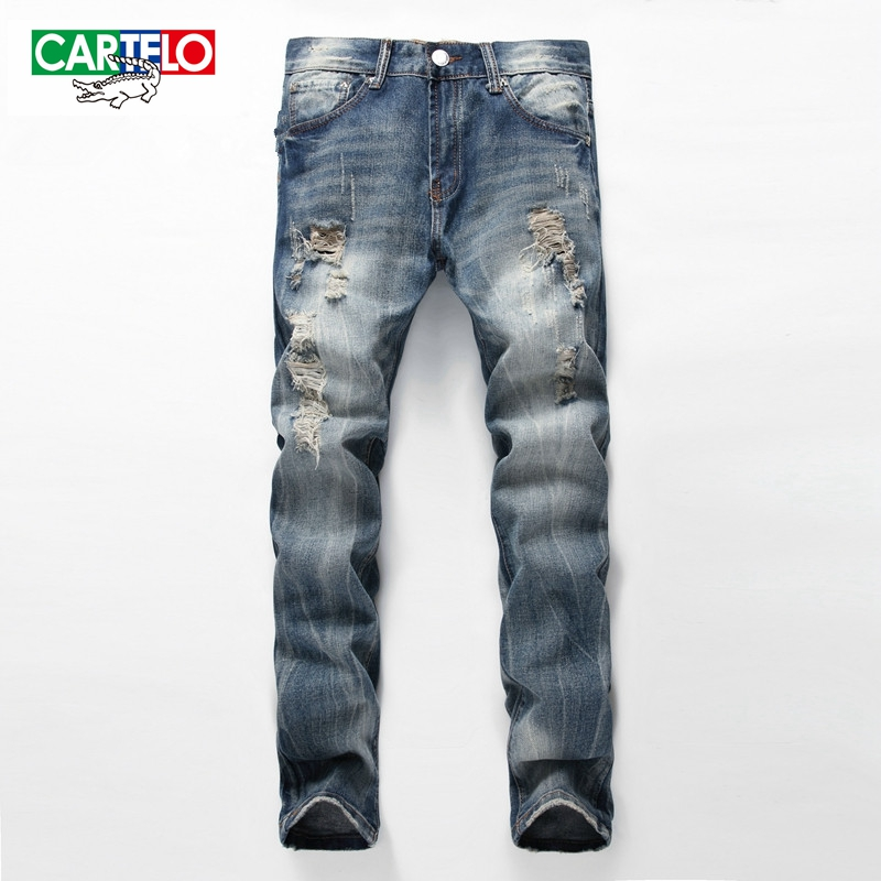CARTELO Brand 2017 new men's Hole fashion high quality jeans men cotton male denim pants casual long men jeans trousers 2017 new hiphop men hole jogger pants high quality casual destroyed skinny ruched jeans hole casual pants jogger rock jeans