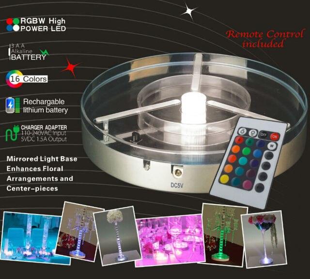 remote rgbw multicolor spot led under vase light wedding candelabra - Spot Led Multicolore