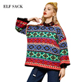 Elf SACK p autumn and winter female vintage loose pullover jacquard sweater female medium-long