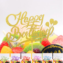 DIY Cake Toppers Happy Birthday Flag Glitter Topper Baby Shower Wedding Party Baking Decor