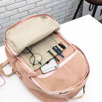 Moda náilon mochila feminina sacos de escola para adolescentes meninas estilo preppy estudante mochila feminina