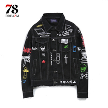 Patchwork jeans jacket Long Sleeve Mens Hip Hop Printed Pocket Casual Shirts Fashion Streetwear