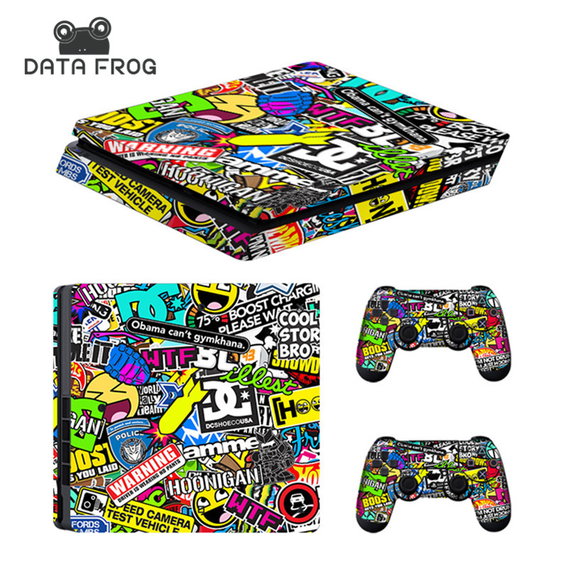 Custom Bomb Skin For PS4 Slim Console Sticker For Sony Playstaion 4 PS4 Slim Skins + 2Pcs Controller Protective Cover