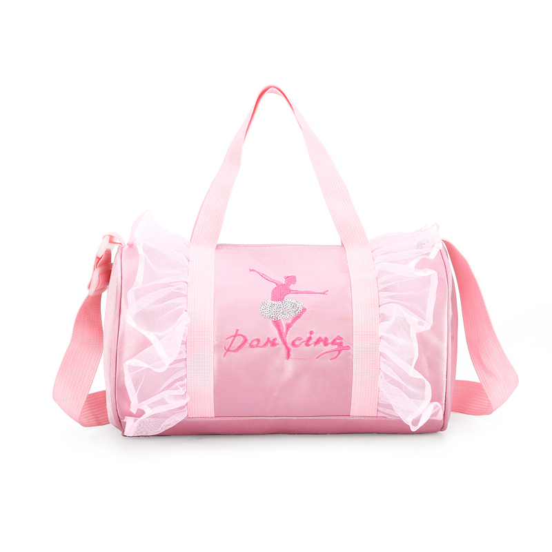 Pink Child Ballet Lace Bags Womens Ballet Sports Yoga Dance Gymnastic Bag For Girls Handbag Crossbody Cavans Large Capacity Bag