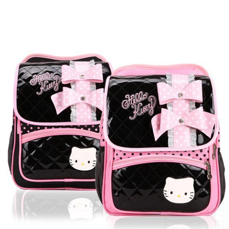 Children Sweet Cartoon Girls Hello Kitty Bow Backpack Kids Child Shoulder Bag Pupil Cute New School Princess Candy Bags Mochilas