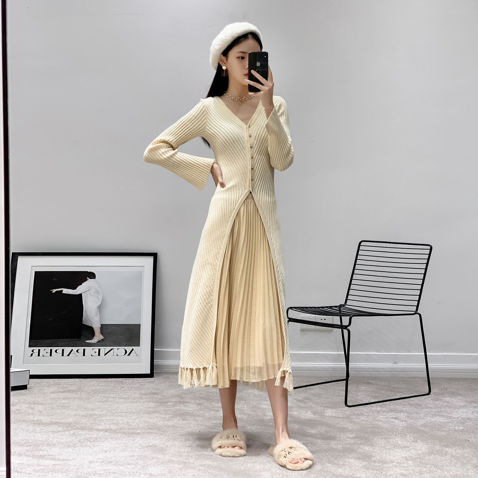 2019 Spring Winter 2 Pieces Set Dress Beige Sweater Japan Style Fit and Flare Sleeve Tassel Sexy Dress Hem Split