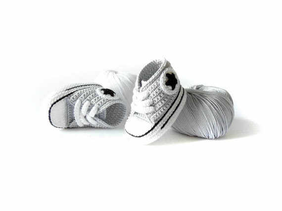 Newborn Baby Shoes,All Star, Sneakers Handmade Crochet, Light Gray select size:0-12M Free shipping