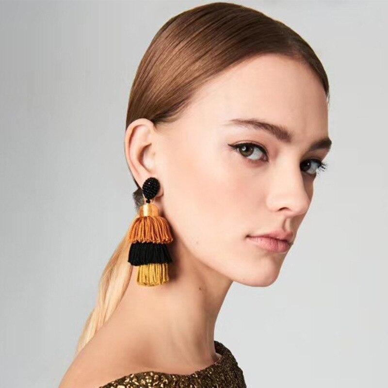 Rétro Bohème Boucles D/'oreilles Femmes Longue Tassel Fringe Boho Dangle Earrings Dangle