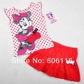 Retail high quality Children summer style clothing set kids girls Minnie Children's Sets T-shirt and skirt summer wear 4-7years