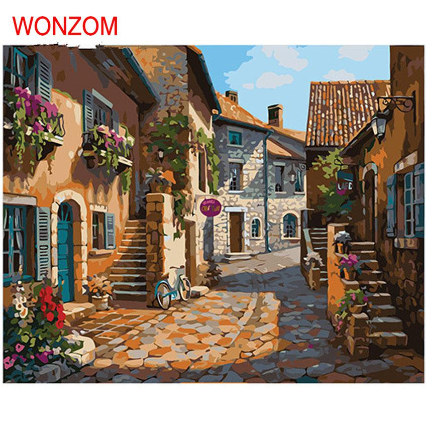 Small town oil painting house street coloring by numbers for Digitally paint your house