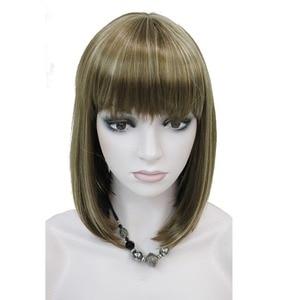 Image 4 - StrongBeauty 女性のかつらきちんとビッグバンボブスタイルショートストレートヘア黒/ブロンド合成フルウィッグ 6 色