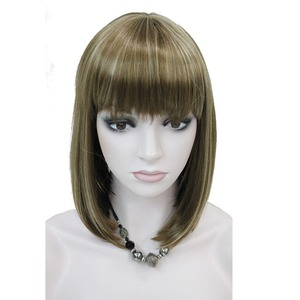 Image 4 - StrongBeauty Womens Wigs Neat Bang Bob Style Short Straight Hair Black/Blonde Synthetic Full Wig 6 Color