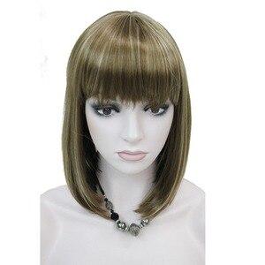Image 4 - StrongBeauty delle Donne Parrucche Scoppio Accurato Bob Style Breve Rettilineo Dei Capelli Nero/Bionda Parrucca Sintetica Pieno 6 di Colore