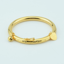 1pcs 5mm Width Yellow Gold Color Baby Kids Bangles Open Jewelry Gold Gift Darling 45mm