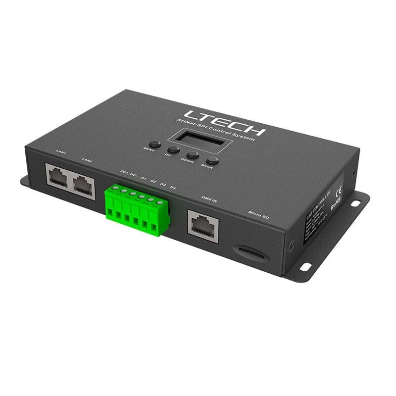 Contrôleur de pixels LTECH Artnet vers SPI led DC5-24V sortie numérique SPI (TTL) conduisant un convertisseur Ethernet vers SPI de 1360 pixels et 8 univers