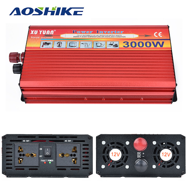 цена на Aoshike 3000W Car Inverter DC 12V 24V To AC 110V 220V inversor Auto Power Converter voltage transformer USB Car Charger
