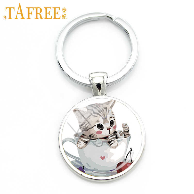TAFREE  cute modeling Pet cat keychain Teacup cat keying ring Glass Carbochon key chain for Childen's gift jewelry TB44