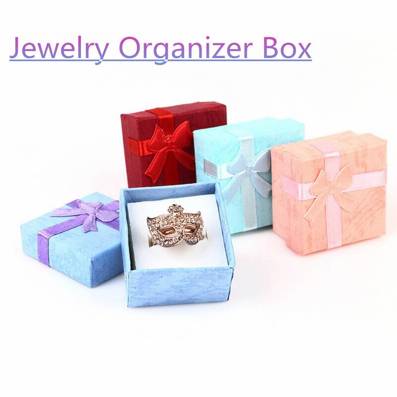New 1PC 4*4cm High Quality Jewelry Organizer Box Rings Storage Box Small Gift Box For Rings Earrings 4Colors