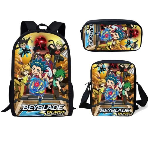 Fashion Beyblade Burst Game 3Pcs SetPrint Man Large Backpack Orthopedic Schoolbags Beyblade Burst Game School Bag