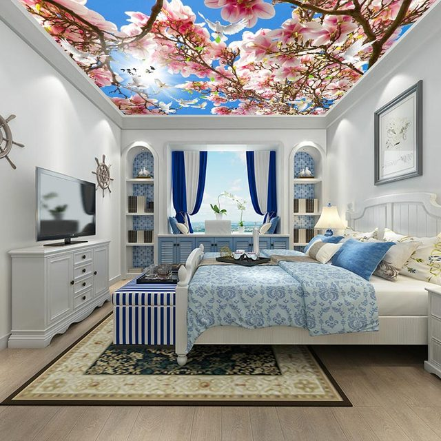 Ceiling Wall Papers 3 D Pink Flower Photo Sky Paper Murals Living Room Bedroom Thicken