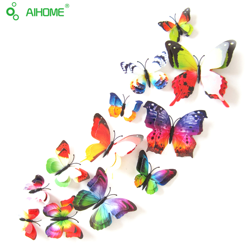 AIHOME Direct Store 12 Pcs DIY 3D Butterfly Wall Stickers Home Decor for Living Room,Bedroom,Kitchen,Toilet,Festive Wedding Decoration