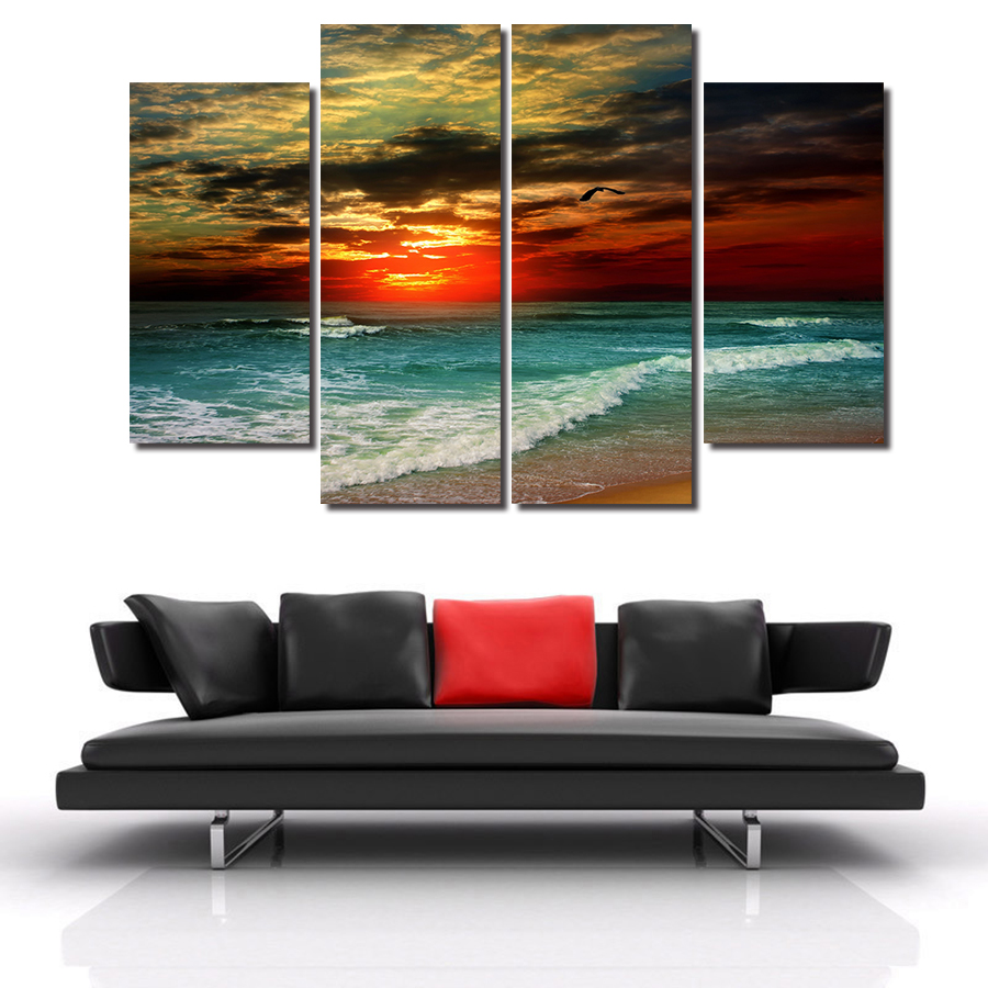 Online get cheap sunset paintings for sale for Cheap canvas paintings for sale
