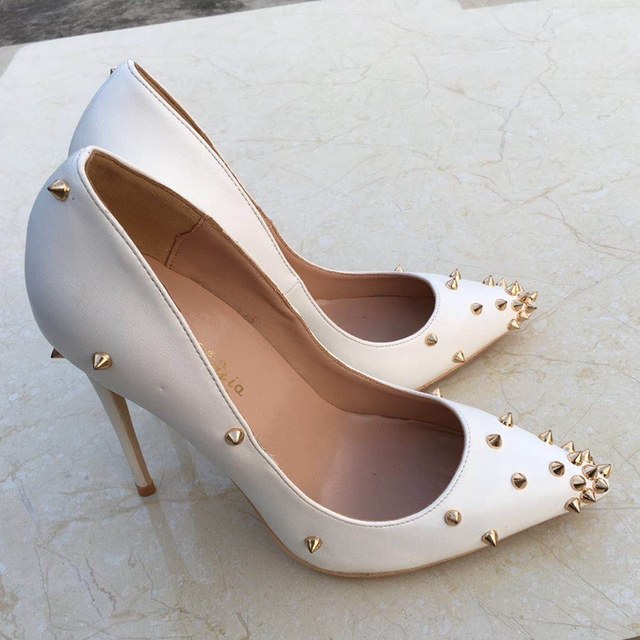 2018 new white rivet high heeled lady pumps shallow pointed toe woman shoes party shoes slip-on PU leather wedding shoes