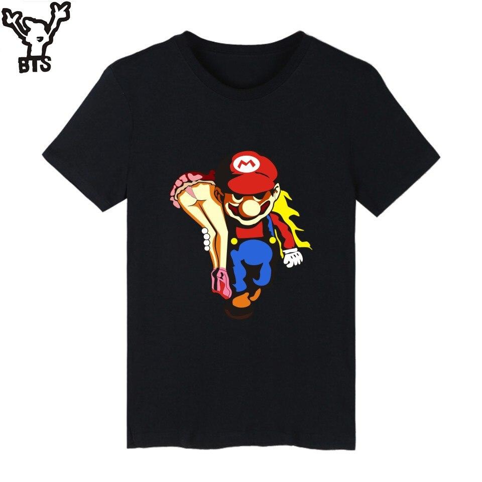 BTS Super MarioRun Cartoon Game T-shirt Men Hip Hop Short Sleeve TShirts and T Shirt Men Print Super Mario Tee Shirts