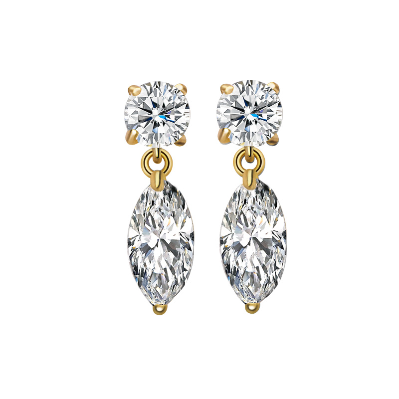 Casual Office Ladies 18K Gold Platinum Plated with Clear CZ Stone Earrings Clearance items promotion Jewelry