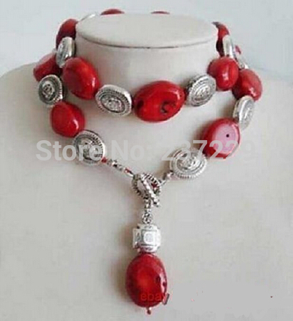 FREE SHIPPING>>>@@ Wholesale XSZ2014 ^^^^^^30'' Tibet jewelry ,Genuine RED CORAL GEMS LONG NECKLACE PENDANT термокружка gems 470ml red rubine 1907 54