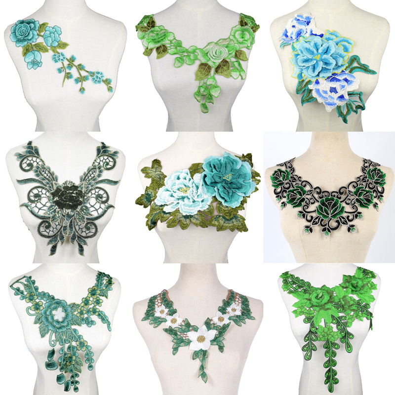 Tecido de renda verde vestido applique blusa costura guarnições diy decote colar traje decoração acessórios