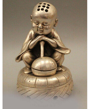 "Copper Brass CHINESE crafts decor ation Asian   Sd 7 "" sono frade Bonze monge budista Folk prata queimador de incenso"