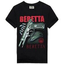 Los hombres la beretta de arma camisetas casual de algodón negro 3d t camisa  ropa de los hombres T camisa cráneo camiseta de los. be492ff3e1dc
