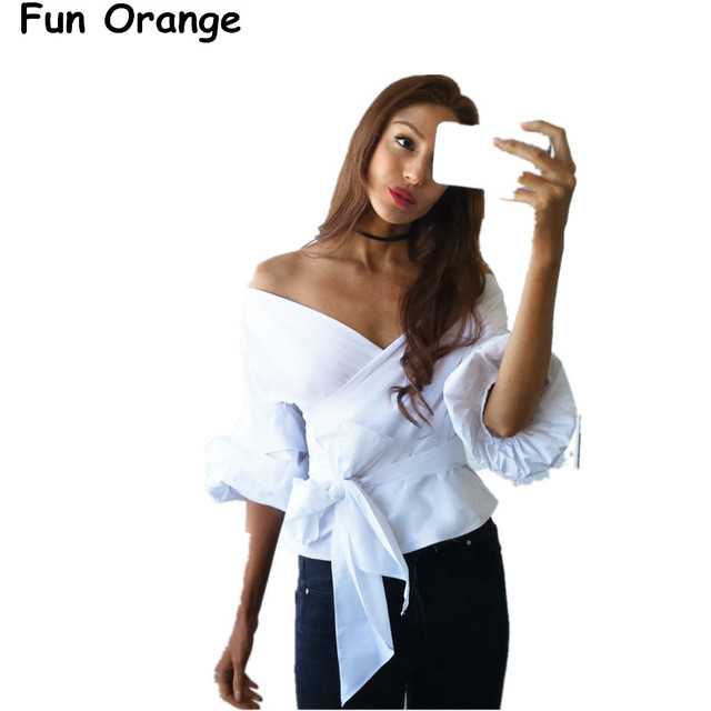 85701f62fa0b Fun Orange Women Ruffled Off Shoulder White Blouse Shirt Autumn Sexy Ruched  Sleeve Cool Blouse Women Waist Tie Cotton Top Blusas