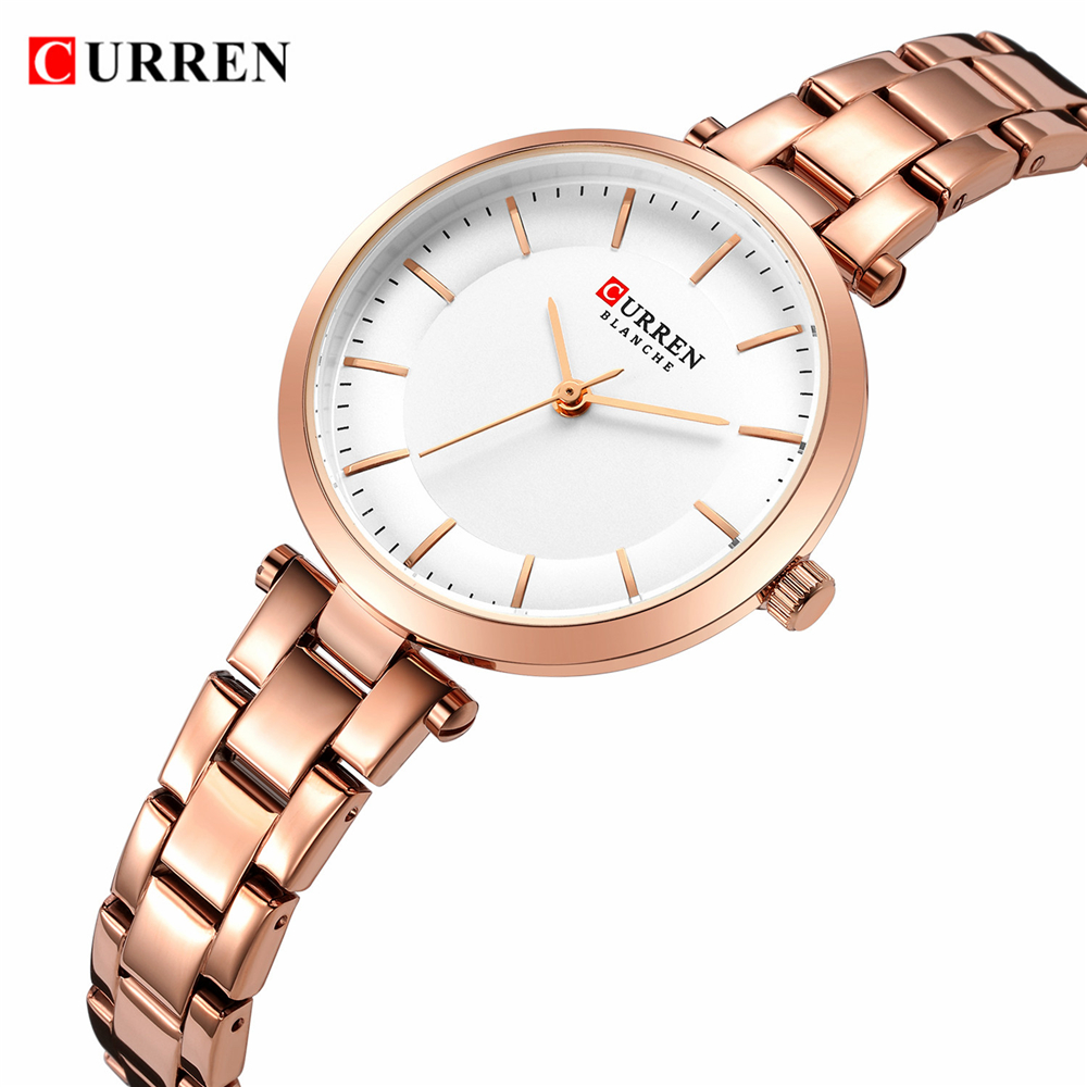 CURREN Luxury Brand Minimalist Quartz Watches Women Rose Gold Bracelet Watch Casual Slim Clock For Ladies Wristwatch With Steel