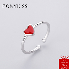 PONYKISS Romantic 100% 925 Sterling Silver Red Heart Opening Resizable Creative Ring Jewelry Women Birthday Party Anniversary