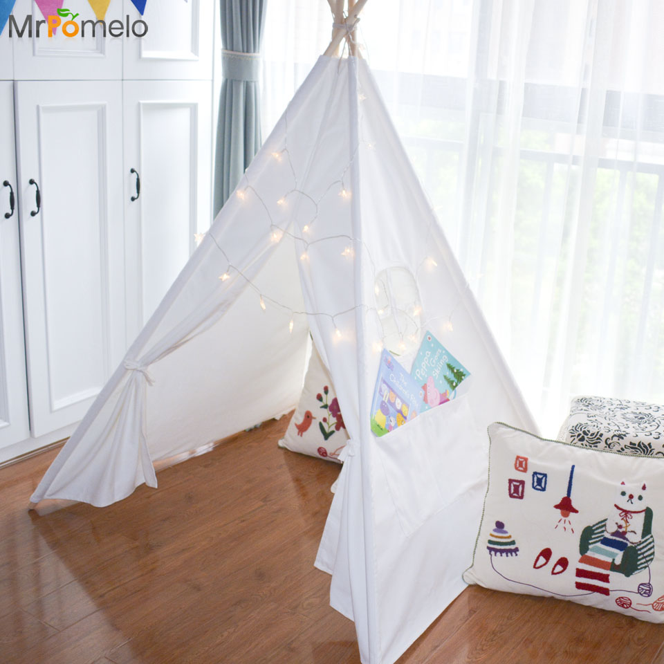 MrPomelo Kids Toy Tent Solid Color Indian White Tents with Window 100% Cotton Canvas Children Play House Game Roon for Baby children tents indian toy teepee safety tent portable play house kids indoor game room outdoor tourist playpens tents corralito
