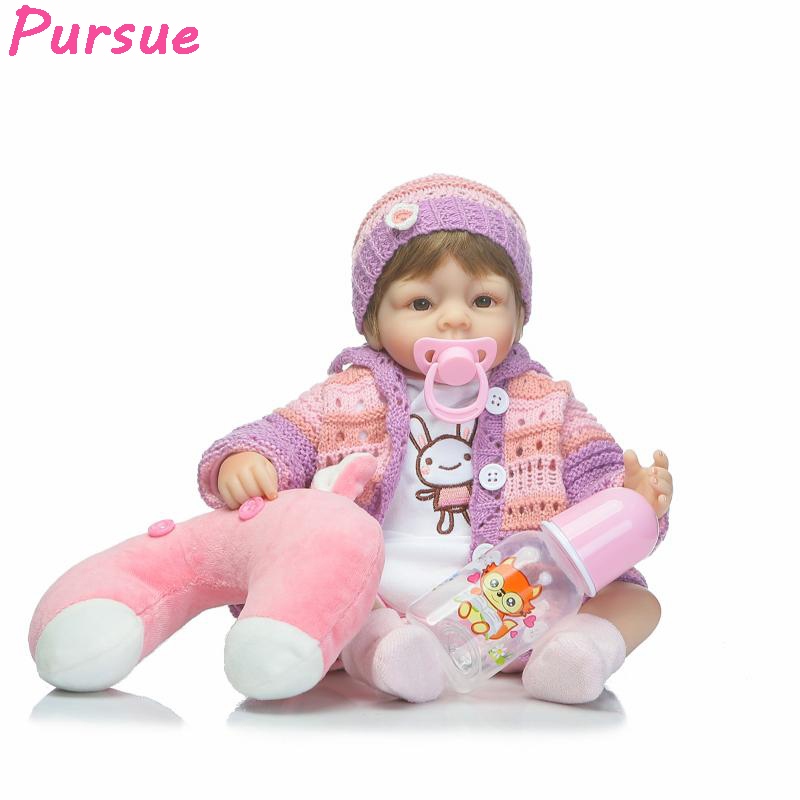 ФОТО Pursue 17 inch Bebe Reborn Toddler Dolls Boneca American Girl Silicone Baby Dolls for Girl bebe reborn menina de silicone menina