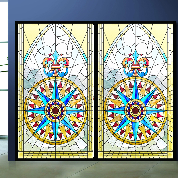 Church Colored Frosted Window Film Decorative Stained