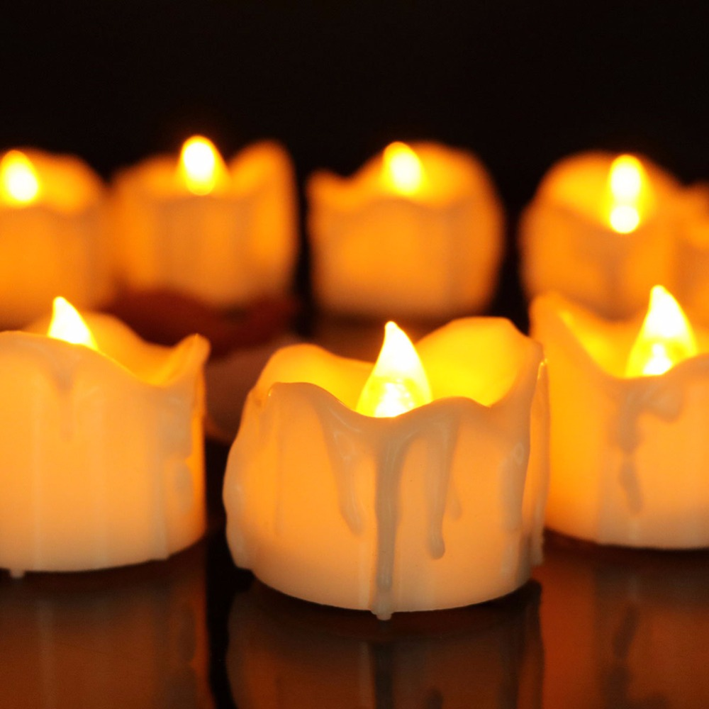 timer led candles 12 pieces,warm white flickering battery operated