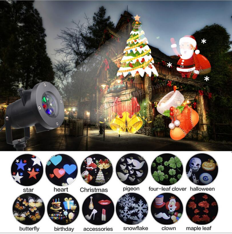 Waterproof Moving Laser Projector Lamps 12 Patterns LED Stage Light For Christmas New year Party Light Landscape Garden Lamp