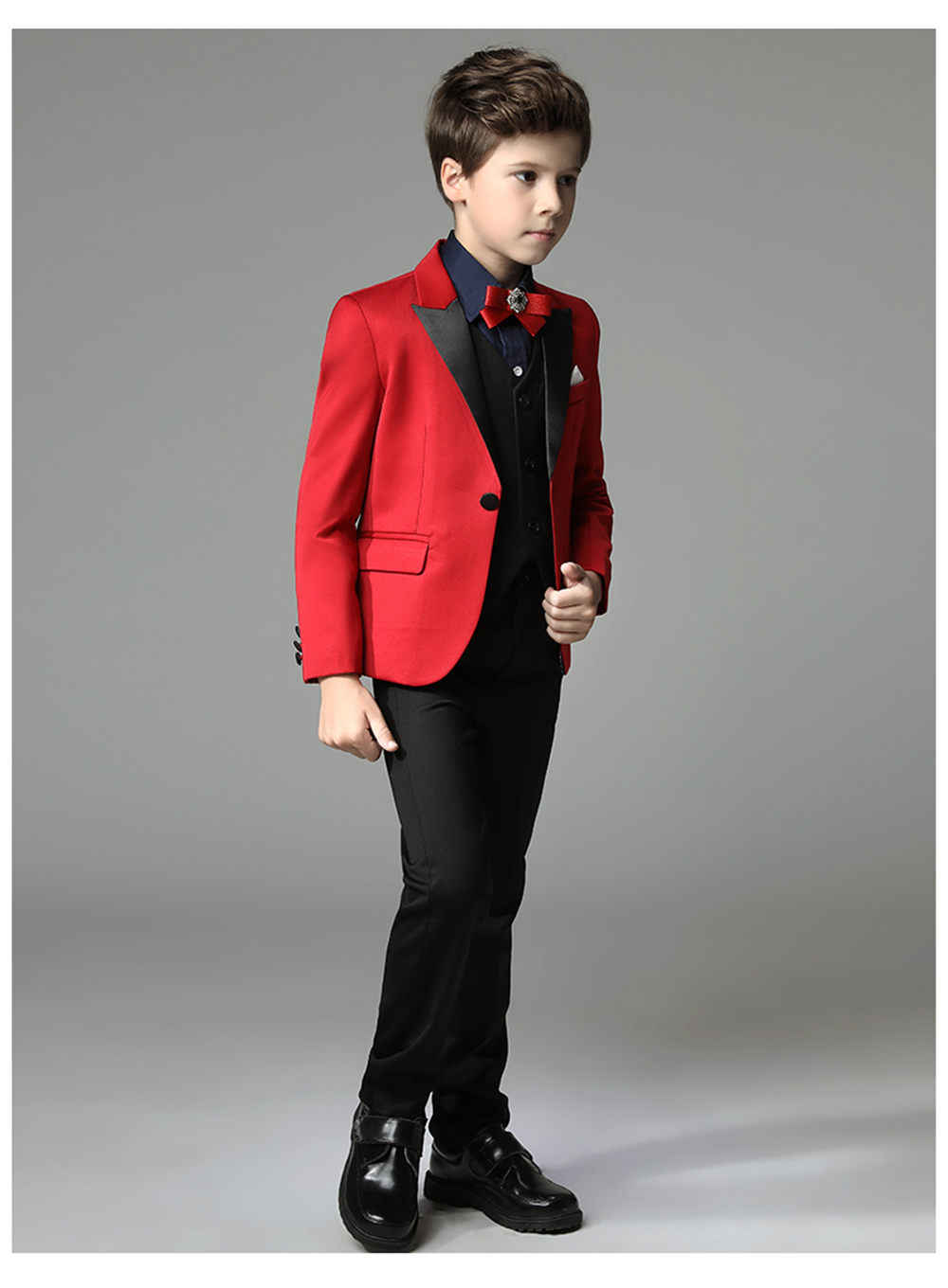 b383729fa99c ... 2018 New 3 pieces Boys Red Wedding Suit Brand England Style Gentle Boys  Formal Tuxedos Suit ...