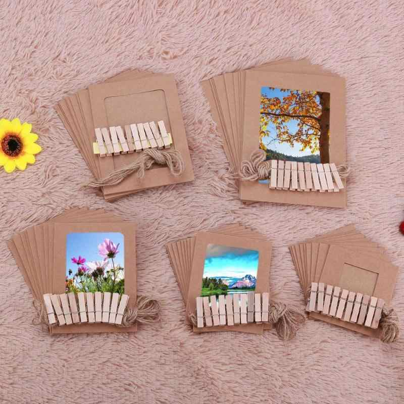 10pcs Paper Frame with Clips Rope Combine DIY Wall Photo Hanging Home Decor