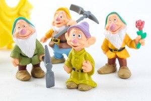 Image 3 - 8 Pz/set Biancaneve e i Sette Nani Action Figure Giocattoli 6 10 centimetri Principessa PVC bambole giocattoli di raccolta per i bambini regalo di compleanno